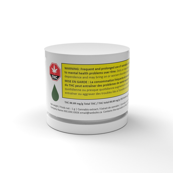 The Canadian Shatter Jar: glass jar for concentrates with compatible child-resistant lid, designed with space allocated for a fully regulated label for the Canadian Cannabis Market