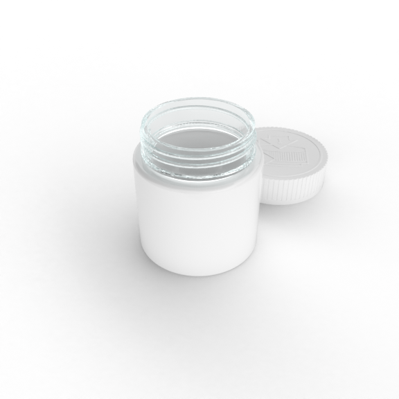 glass jar with matte white decoration