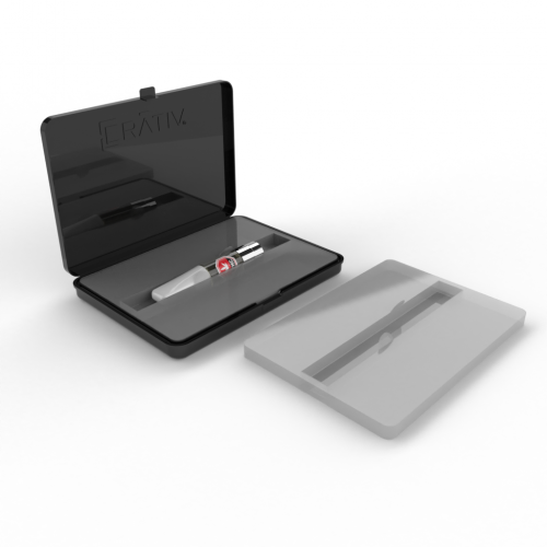 Crativ Slim with custom thermoform insert to secure glass components