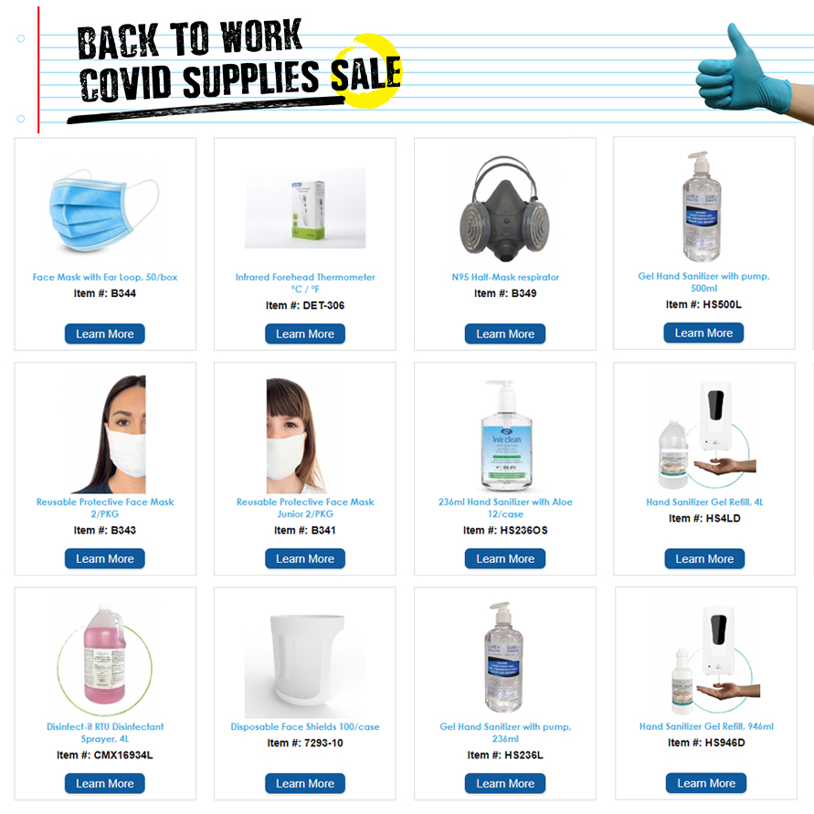 Back to Work - Covid Supplies Sale on PPE, Santizer, Etc