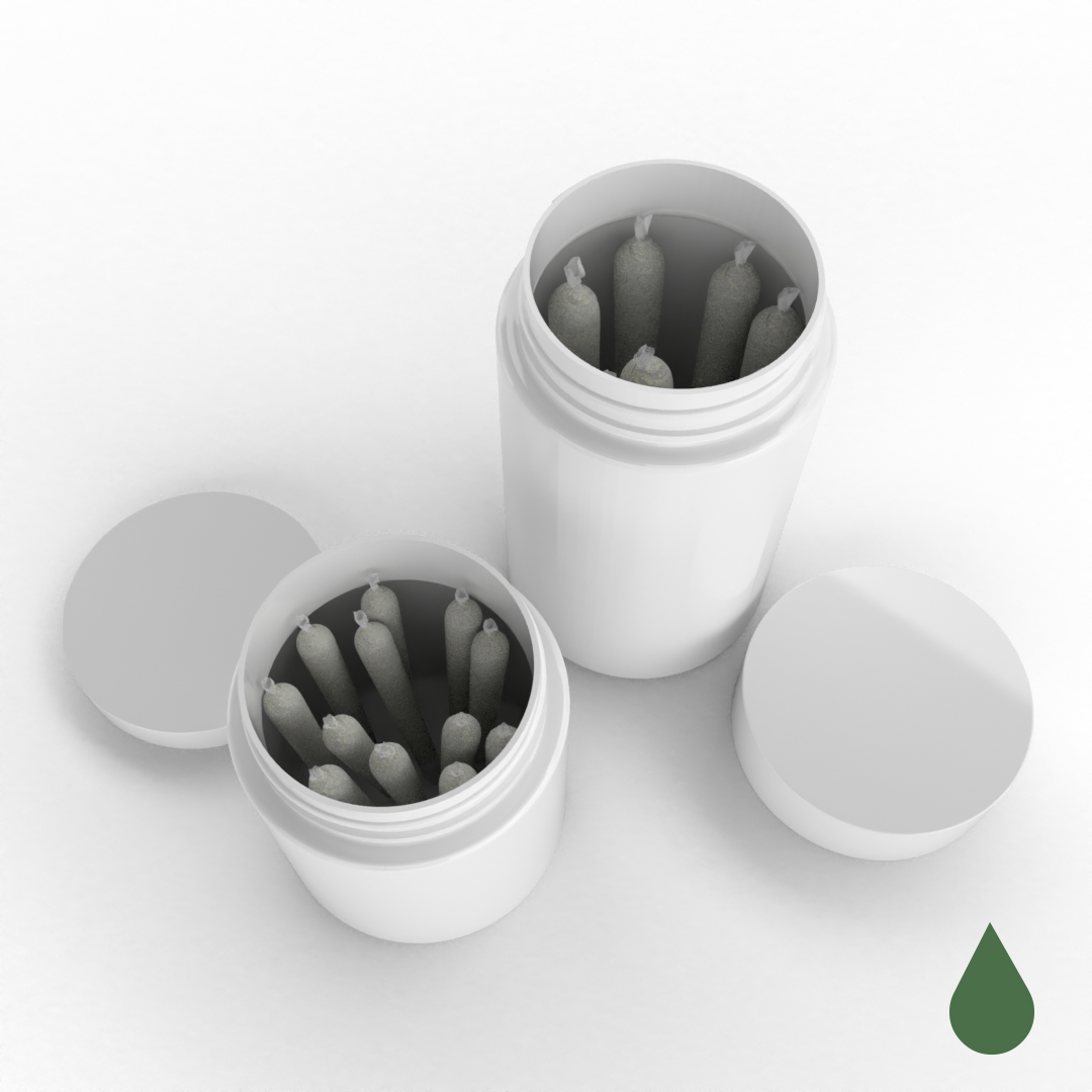 Cannasupplies 40dram and 60 dram jars with smooth-sided closures